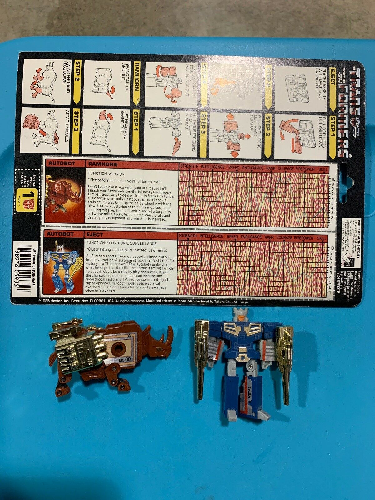Transformers G1 VINTAGE 1986   EJECT & ramhorn   100% COMPLETO CON ARMI D'oro