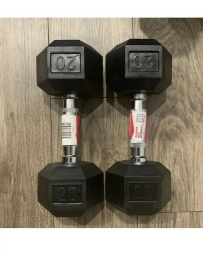 ✈️SHIPS FAST✈️ 20LB Pair Of Rubber Coated Weider Hex Dumbbells Weights