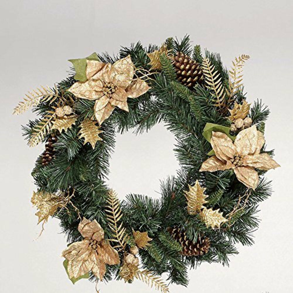 2ft Wreath with gold Poinsettias
