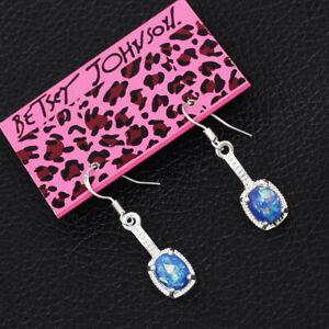 Women's Blue Faux Fire Opal Drop Eardrop Dangle Betsey Johnson Earrings Gift