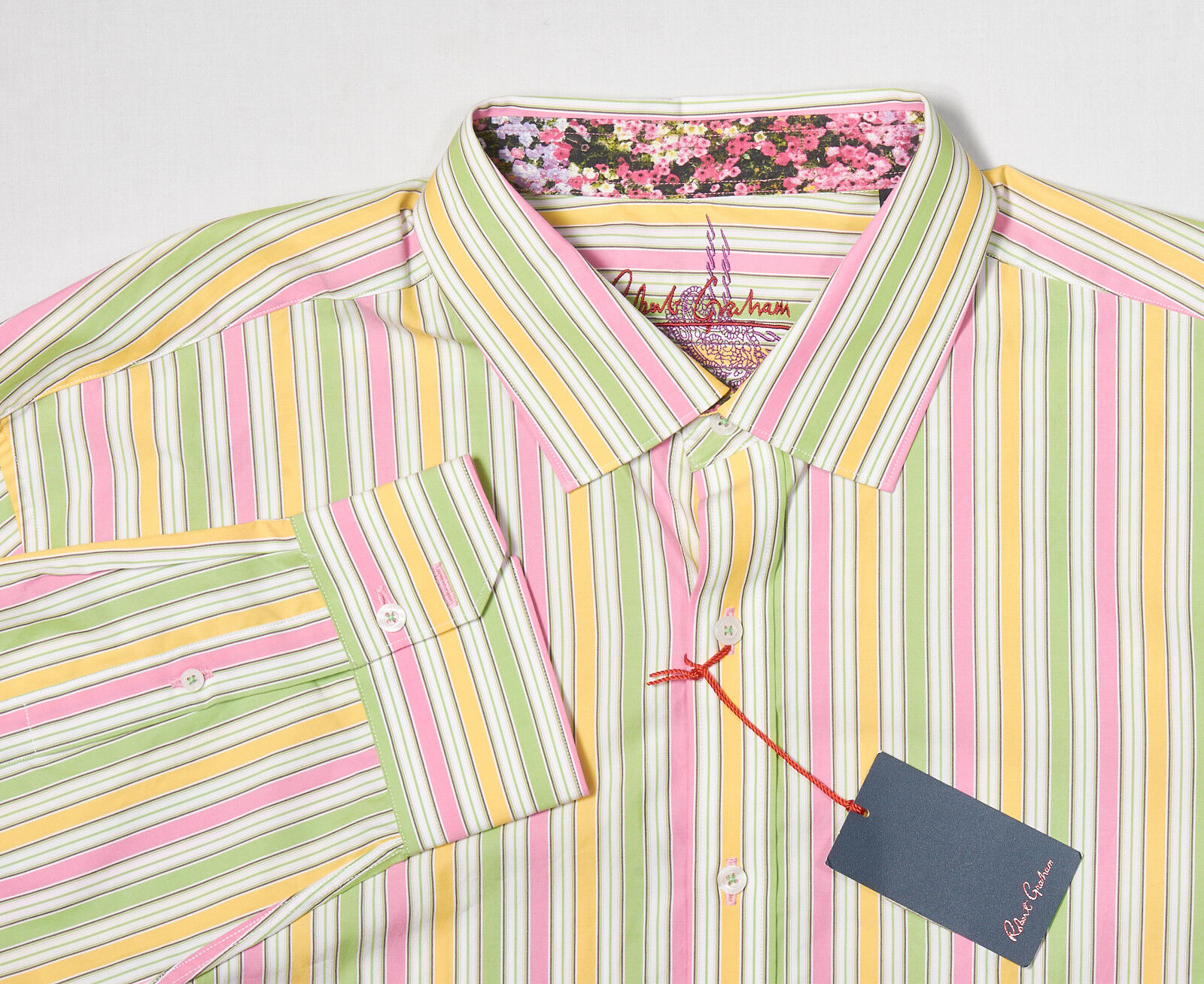NWT Mens ROBERT GRAHAM Shirt 3XL in Lime Green Pink Yellow Striped Cotton