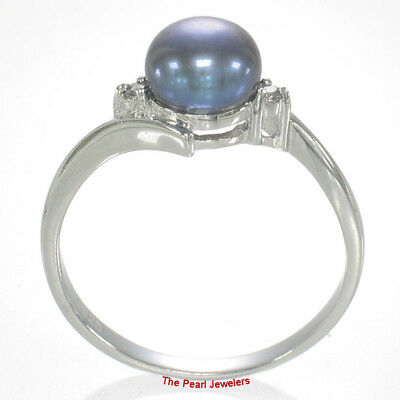 TPJ 925 Silver Blue Cultured Pearl Ring w// Two Cubic Zirconia Accents 6.5-7mm