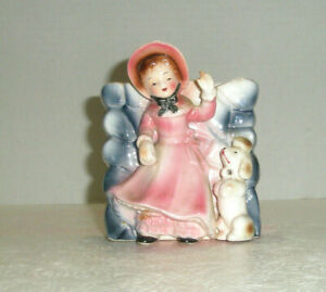 Vintage Figural Wall Pocket Planter Lady with Poodle Pink Coat and Hat