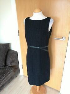 Ladies-MEXX-Dress-Size-14-Black-Tweed-Shift-Wiggle-Office-Work-Day-Party