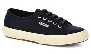 SUPERGA COTU CLASSIC 2750 WOMENS CANVAS TRAINERS - UK SIZE 4 - NAVY BLUE.