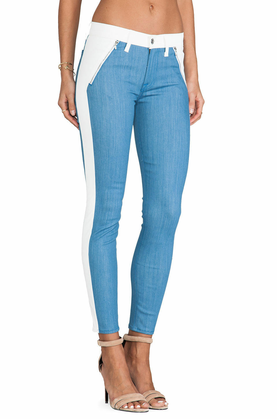 NWT Sz 24 7 For all Mankind Women's Skinny Jeans White bluee Faux Leather  235