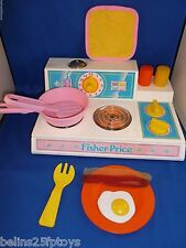 Fisher Price Fun Food kitchen stove top 919 magic burner pink set 3 + Girls Boys
