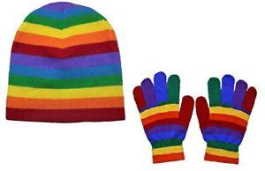 Set-of-Rainbow-Beanie-Hat-amp-Knitted-Stretch-Gloves-Warm-Wool-Gripper-Boys-Girls