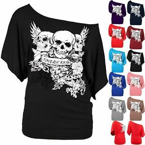 Plus-Size-Ladies-Women-3-Skull-Off-The-Shoulder-Tunic-Bardot-Batwing-T-Shirt-Top