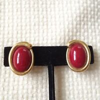 Vintage Gold Tone and Red Cabochon Clip Earrings Signed Crown Trifari