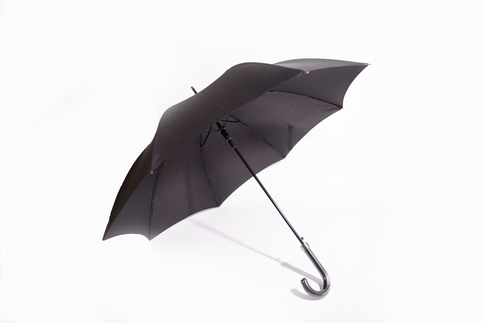 Black Ladies & Gents Walking Windroof Automatic Opening Umbrella, Leather Handle
