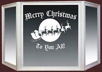 Christmas Wall Window Sticker Santa Sleigh Reindeer Shop Vinyl Decal #1