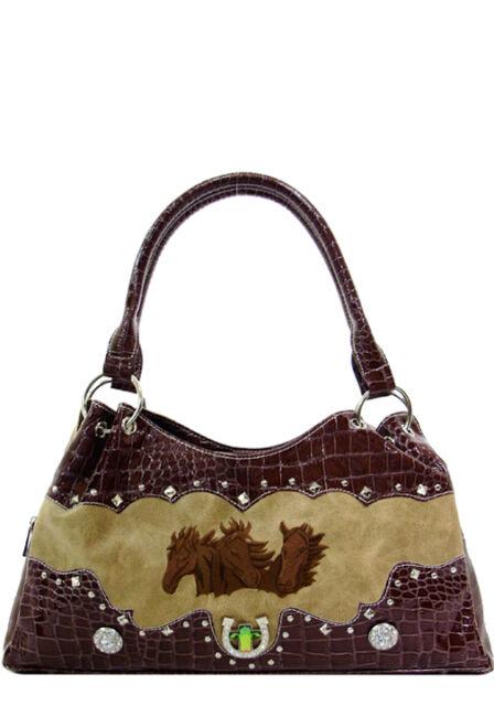 Texas Leather Manufacturing Handbag Purse Triple Horse Head 500328