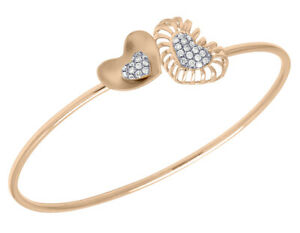 14K-Rose-Gold-Real-Diamond-Double-Heart-Ladies-Flex-Bangle-5-11-CT