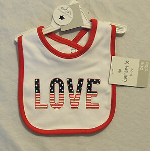 NEW Baby Carters Love Bib American Flag Valentines