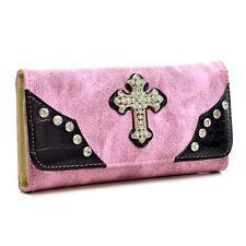New Women Leather Wallet Bag w/ Rhinestone Studded Cross Trifold Card Purse