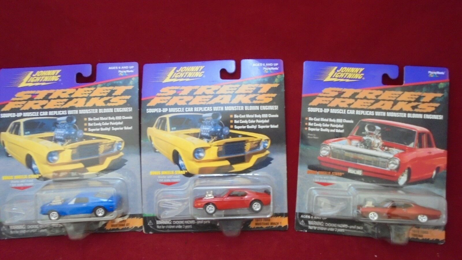 Lot de 3 Johnny Lightning Street freaks Gonflé-up Muscle Voiture Replicas 1 64 Comme neuf IN BOX