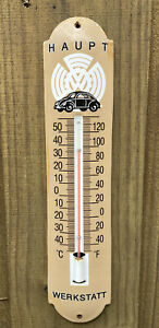 VINTAGE-HAUPT-WERKSTATT-PORCELAIN-THERMOMETER-METAL-SIGN-OIL-GAS-VOLKSWAGEN-VW