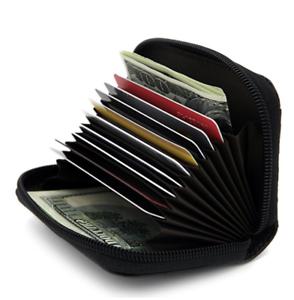 Black-Genuine-Leather-Women-Accordion-Wallet-Zip-Around-ID-Card-Holder