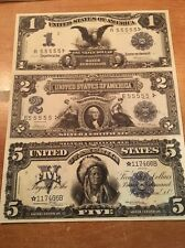 Copy Reproduction 1899 Silver Cert. Uncut US Currency Sheet Paper Money 1-2-5