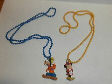 VINTAGE MINNIE MOUSE AND GOOFY RUBBER PENDANT AND CHAIN