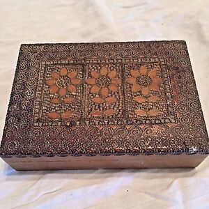 Poland Wooden Box Carved Flowers Metal Work Wood Vintage Jewelry Cards (P)