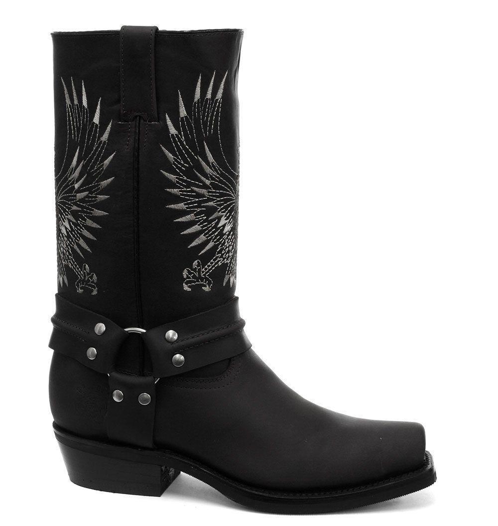 Grinders Bald Eagle schwarz Leder Cowboy Boot Slip On Square Toe Front Stiefel