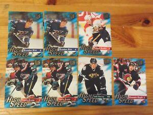 7-Card-Lot-1995-96-ULTRA-EXTRA-HIGH-SPEED-INSERT-LOT-DAIGLE-GREEN-SVHELA