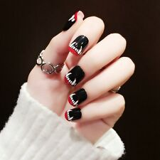 Black Short False Nails Acrylic Nail Art Tips Sharp Teeth Halloween Style Z381