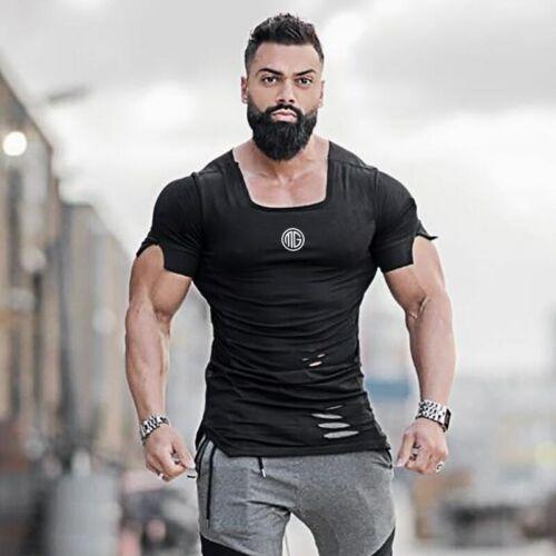 New 2019 Cotton Men/'s T shirt Vintage Ripped Hole T-shirt Men Fashion Casual