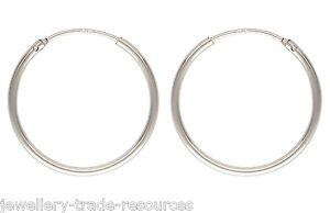 1x Pair 20mm Sterling Silver Round Hinged Hoop Sleeper Earrings