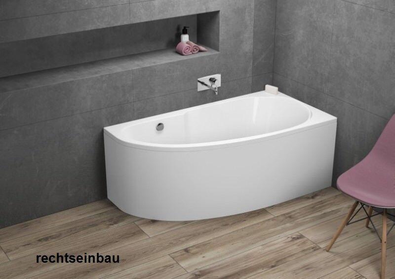 Badewanne 140 x 70 cm   Rechts inkl. Wannenfuß und Ablaufgarnitur