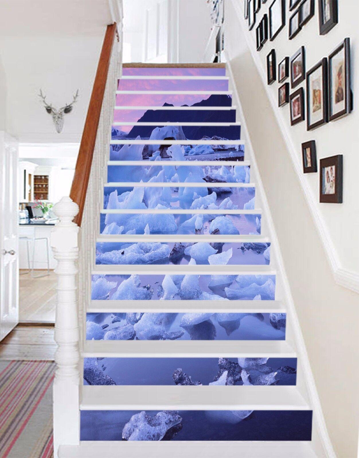 3D Eis Fluss 763 Stair Risers Dekoration Fototapete Vinyl Aufkleber Tapete DE