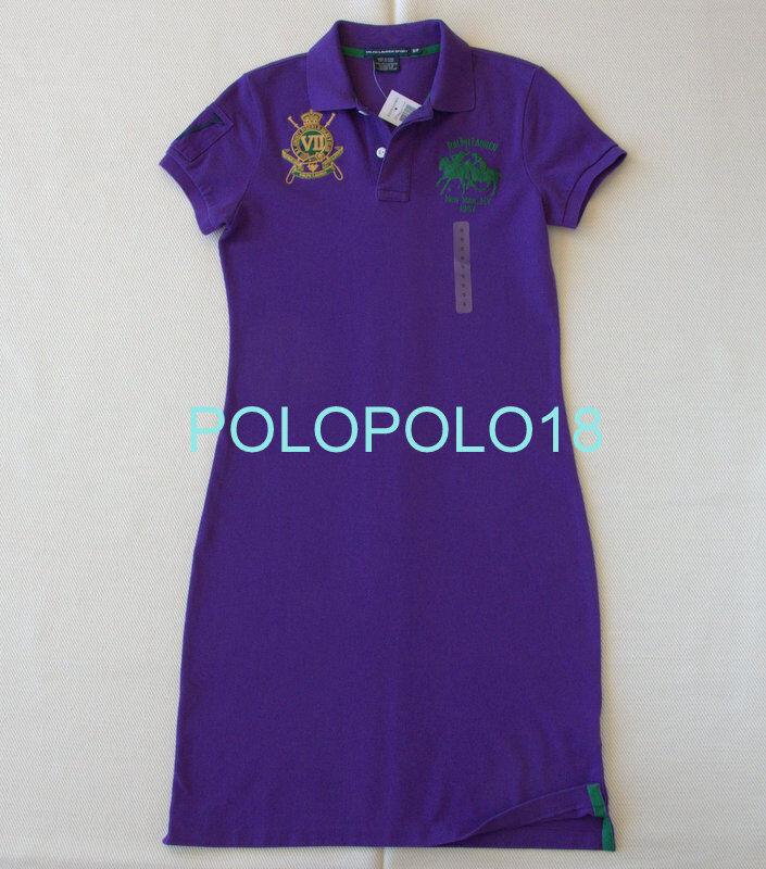 New Ralph Lauren Women Dual Match Crest Shirt Dress Big Pony Purple S