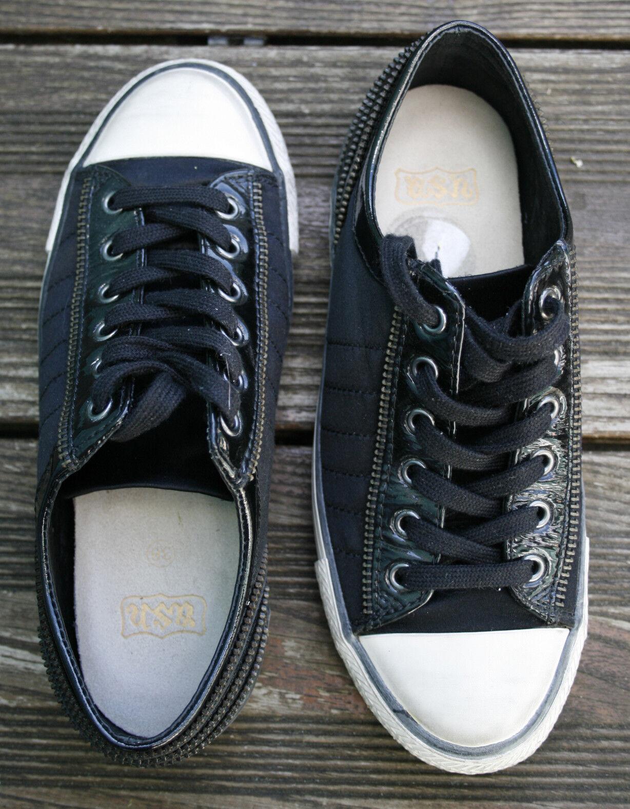 LUXUS  ASH Trend Sneaker 36 Satin Reißverschluss schwarz Blogger Blogger Blogger Wiesn Dirndl 30e3b9