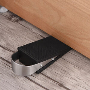 Black Doorstop Door Stopper Stainless Steel Handle Home Doors Block