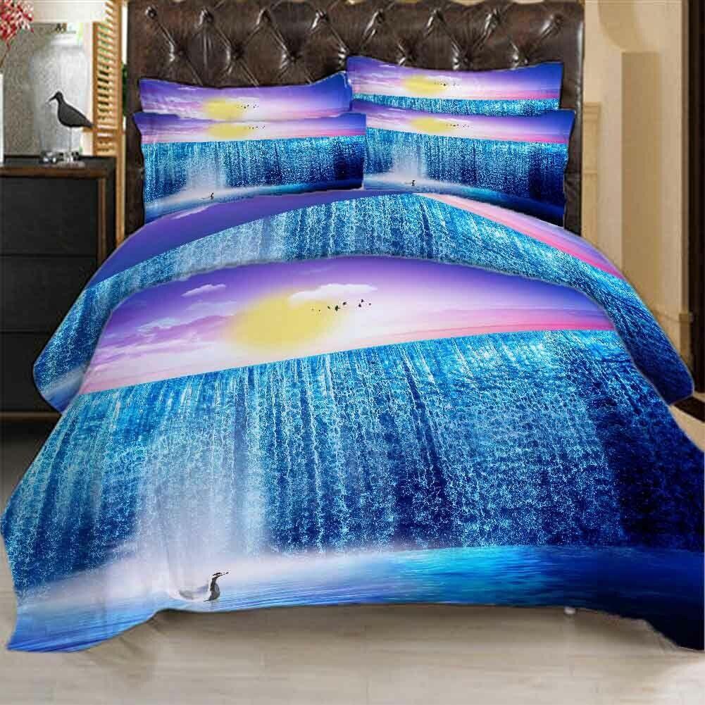 blu viola Cloud 3D Printing Duvet Quilt Doona Covers Pillow Case Bedding Sets