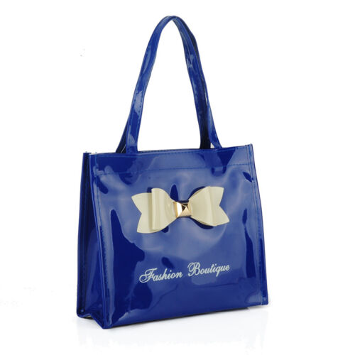 Fashion Boutique Glossy shopper bag with zip and bow detailing