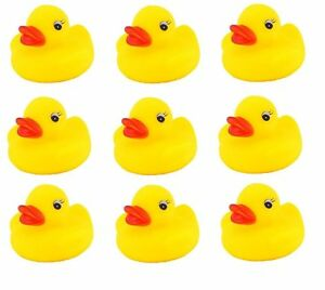 PARTY BAG FILLER PACK OF 9 MINI YELLOW BATHTIME BATH RUBBER DUCKS WATER TOY