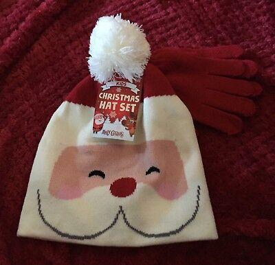 Utile Bambini Natale Cappello E Guanti Set Con Babbo Natale Tema Da B&m-mostra Il Titolo Originale Caldo E Antivento