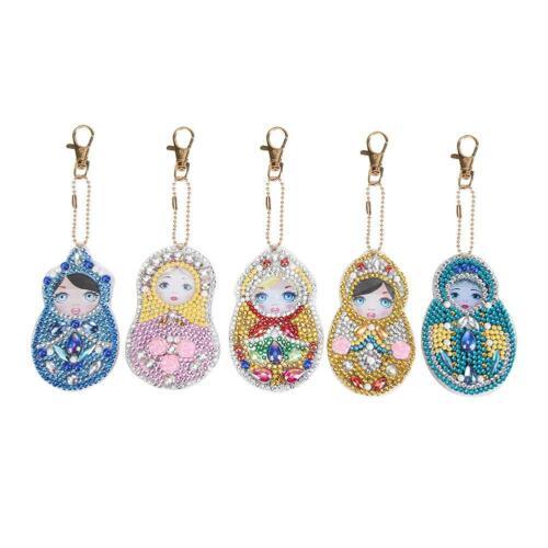 4-5pcs DIY Full Drill Diamond Painting Key Chains Keyring Keychain for Bag Decor