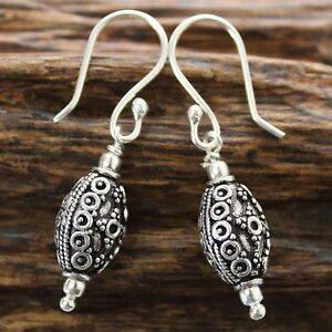 Ohrringe-Sterlingsilber-925-Ohrhaenger-Indien-Grosse-Perle-Silber-GTS