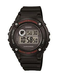 Casio Men's Quartz Illuminator Alarm Chrono Black Resin 43mm Watch W216H-1AV