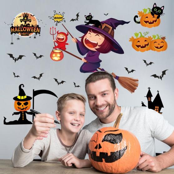 Cartoon Funny Halloween Pumpkin Witch Bats Ghost Wall