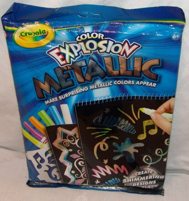 Crayola Color Explosion Rainbow Mini Sized 12 Page Black Tablet 2 Markers New