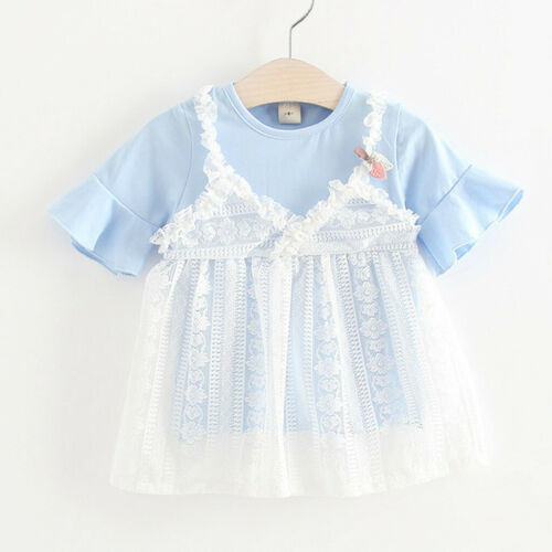 Summer Toddler Infant  Kid Baby Girl Lace Fake Two Pieces Princess Tulle Dress