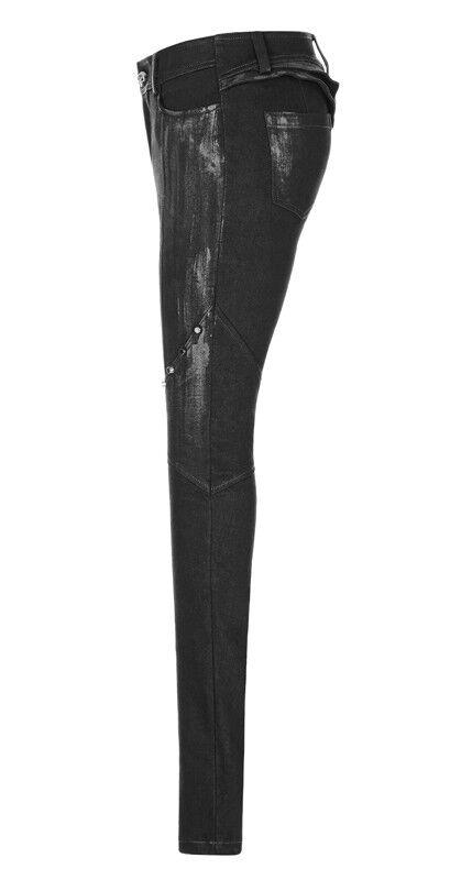 Jeans nero clouté pantalon gothique steampunk guerrière volants volants volants armure PunkRave b9c5f0