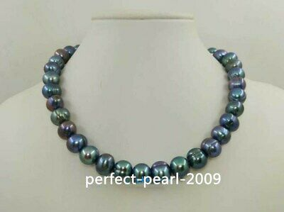 Genuine natural 50 inch 9-10mm Tahitian black pearl necklace 14k AAA