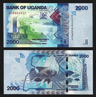 P-50 Uganda 2000 2,000 50c Shillings UNC /> Fish 2015