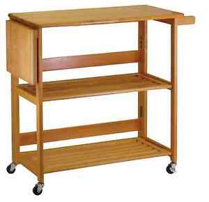 Details about Folding Kitchen Island Cart Rolling Storage w/ Light Oak Wood  Top and Towel Bar